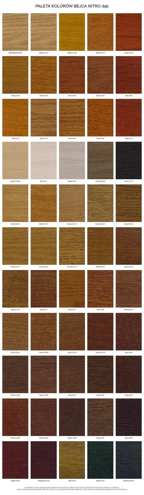 wzornik kolorów dla stołów bilardowych dąb
